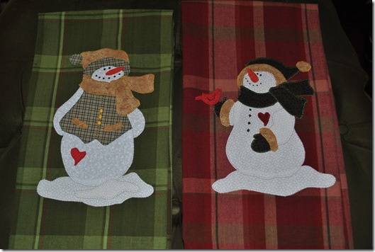 Appliqued Snowmen Towels 004
