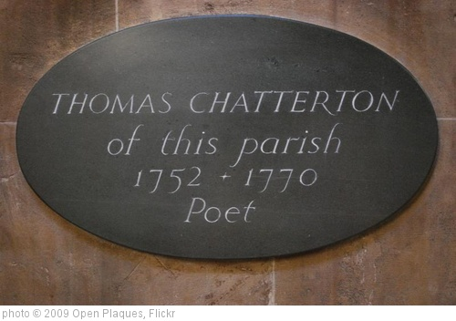 'Thomas Chatterton plaque' photo (c) 2009, Open Plaques - license: http://creativecommons.org/licenses/by/2.0/