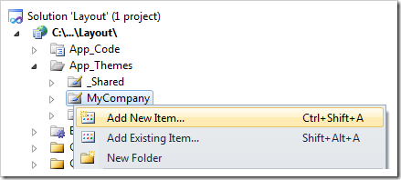 In the Solution Explorer, right-click on the ~/App_Themes/MyCompany folder and click on Add New Item option.