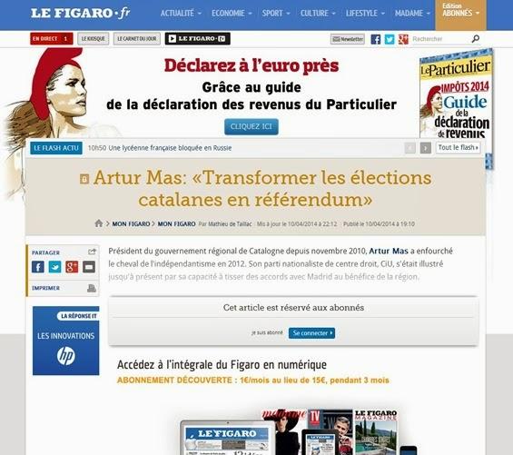 article e entrevista d'en Artur Mas dins Le Figaro