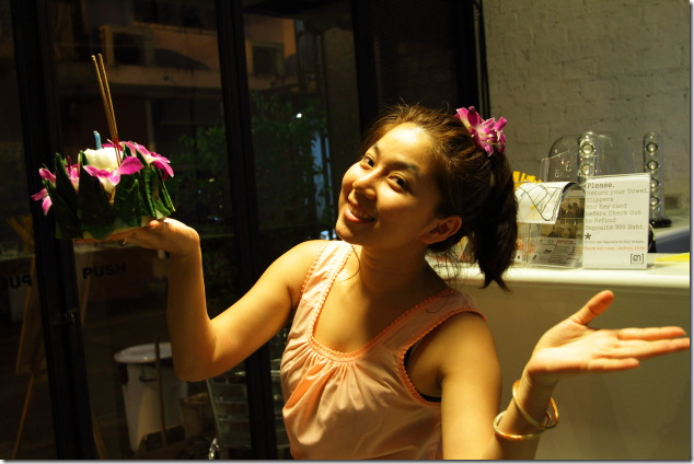 Co-Founder of 3Howw Hostel on the festival day of Loi Krathong