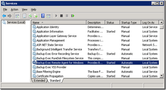 07 Start Backup Exec Remote Agent for Windows