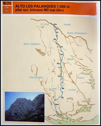 Alto Les Palanques - Intrusos 350m MD  7a  (6b A0 Oblig) (Libro Adrados)
