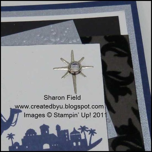 2.pewter embossed star with clear rhinestone brad