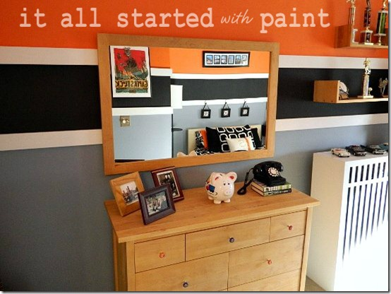 Teen Room orange gray black dresser