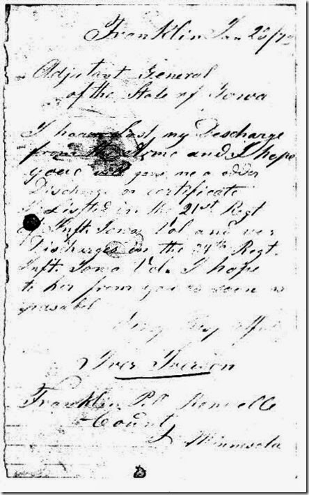 Letter by Iver Iverson to Adjutant General dated January 23, 1873