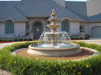 12' Round Flared Contour Fountain Pool Surround, Giallo Fantasia Y Granite