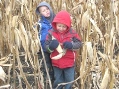 10.29.11 Cousins halloween get together Cody and Kyle in the cornfield