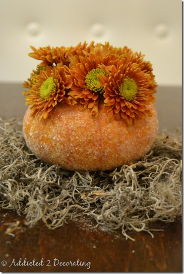 miniature pumpkin vase with epsom salt before picture