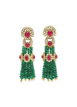 A pair of Emerald, Ruby, and Diamond Ear Pendants. Estimate: $4,000-$6,000