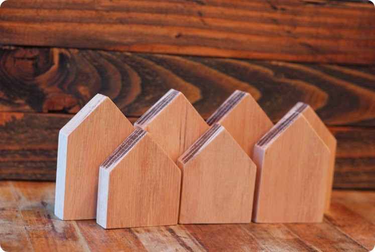 wooden houses cut from scrap wood