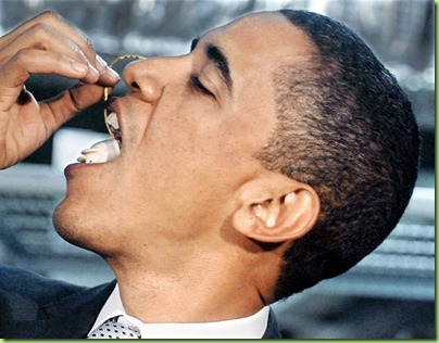 Obama-eats white choc mouse