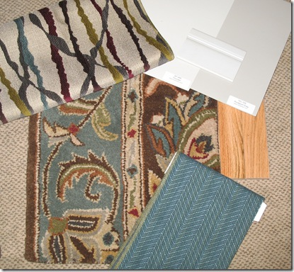 colour ideas w rug  and paint Ben Moore AF685 or HC105