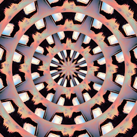 Wheel 1 by Tina Dare - Digital Art Abstract ( abstract, circles, patterns, pinks, wheel, designs, distorted, gears, blues, spokes, shapes )