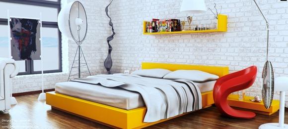 Dormitorio de moda: amarillo, blanco y rojo