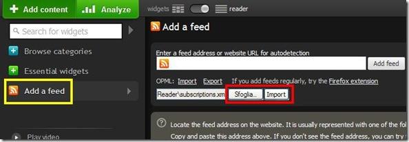 Netvibes importare feed da Google Reader