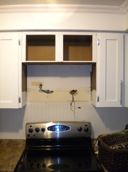 Retrofit a cabinet for microwave