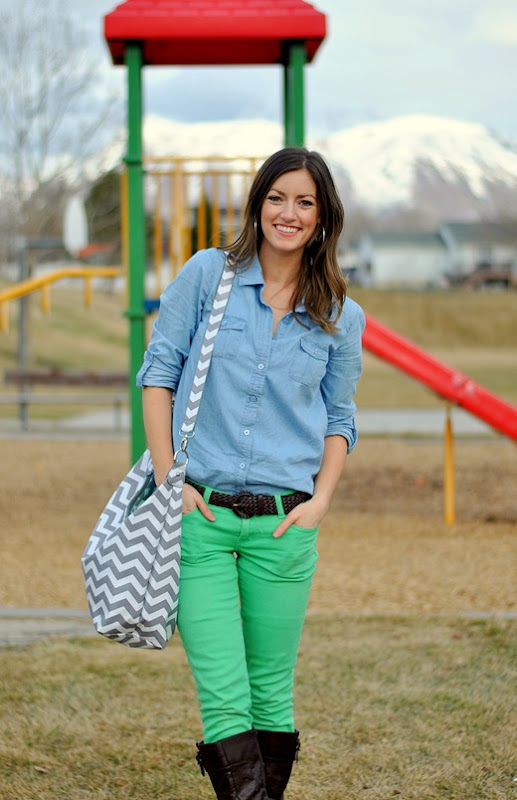 chambray + colored denim + chevron bag