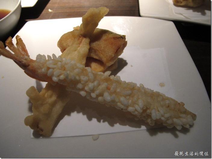 台北-三四味屋。【酒屋旬鮮套餐】揚物─炸蝦天婦羅。