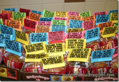 Teacher Appreciation Week - Muffin Breakfast - mudpiestudio@blogspot.com