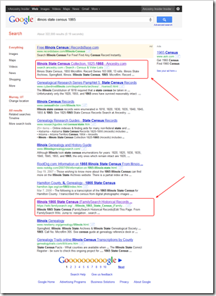 Google search results place Ancestry.com database way above FamilySearch