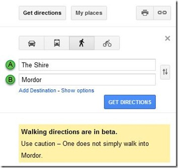 Google Maps Mordor Easter Egg