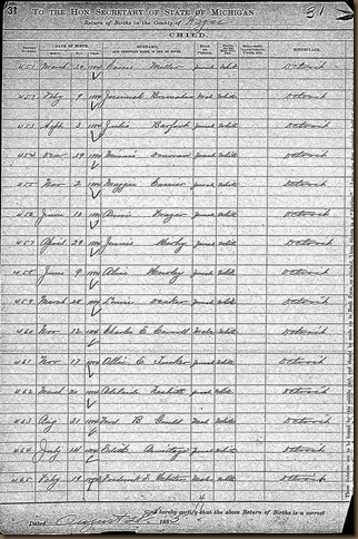 GOULD_Ford V_birth record_1884_DetroitWayneMichigan_page 1 of 2