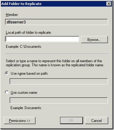 Add Folder to Replicate Dialog dfs3