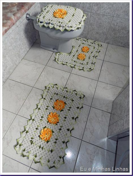 Jogo Banheiro Croche com Flor 1c