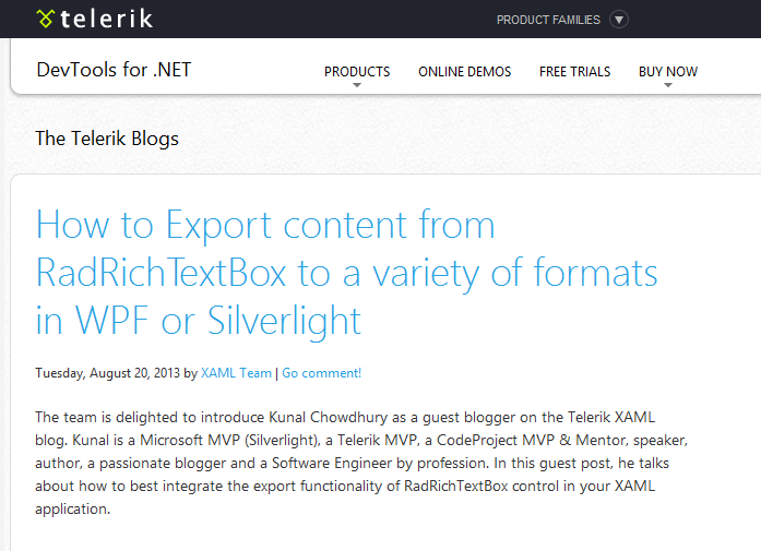 Guest blog post @ Telerik.com on How to Export content from RadRichTextBox to a variety of formats in WPF or Silverlight