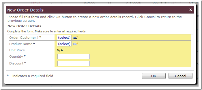 Unit Price field on New Order Details form is not editable.