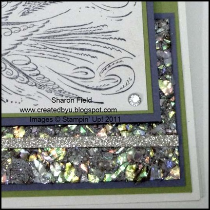 faux, technique, faux mother of pearl mosaic, mosaic technique, comfort and joy, rhinestones, glimmer paper, wisteria wonder, elegant lines, createdbyu, blogspot, sharon_Field, shop online, online ordering, classes and events