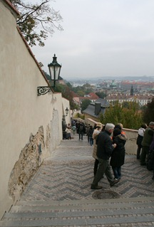 walking down from the castle to the Mala Strada in Prague