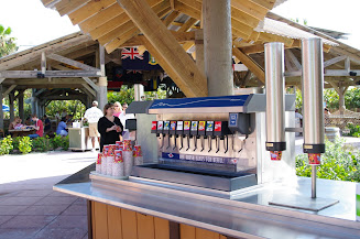 A drink station by Cookies Two BBQ.  Both Cookies lunch spots have drink stations and ice cream stations.