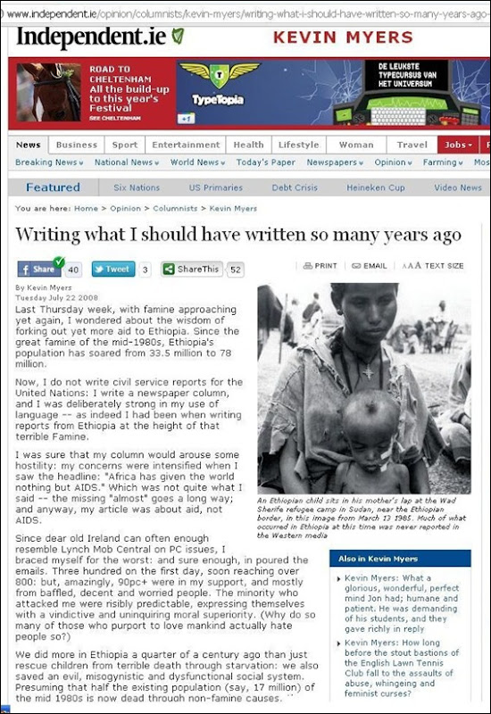 MYERS KEVIN JOURNALIST IRISH INDEPENDENT AFRICA HAS NEVER GIVEN ANYTHING TO ANYONE EXCEPT AIDS ARTICLE WHAT I SHOULD HAVE WRITTEN YEARS AGO