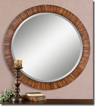 13554-b_1_Jules Mirror 36 inch dia over sofa table in entrance to speak back to stair finish in back room     326 00 Uttermost