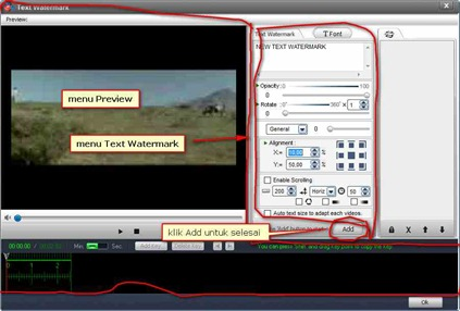 Menu Preview dan Text Watermark Video Watermark Pro