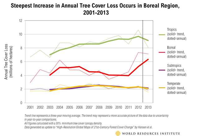 Annual tree cover loss (millions of hectares), 2001-2013. The steepest increase in annual tree cover loss occurs in the Boreal region. Graphic: WRI
