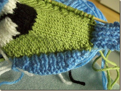 Pick up and knit stitches for second wing