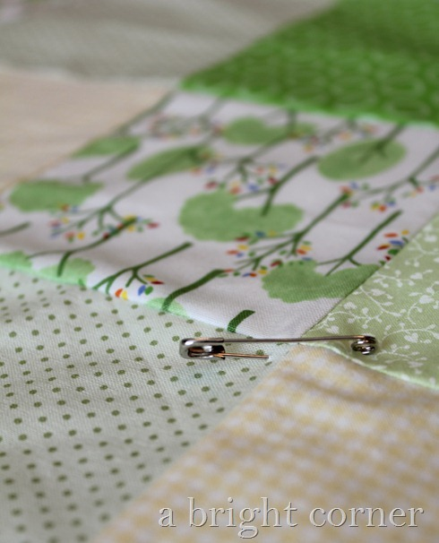 green quilt basting