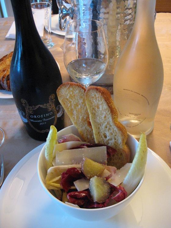 Radicchio, Endive, and New Potato Caesar Salad with Ciabatta Garlic Crisps