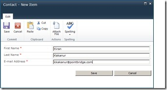 Implement Contact/Feedback functionality using SharePoint 2010 ListData.svc