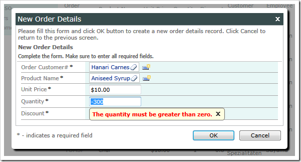 Quantity validation by a JavaScript business rule in a form view