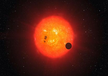 ilustração do trânsito de um exoplaneta