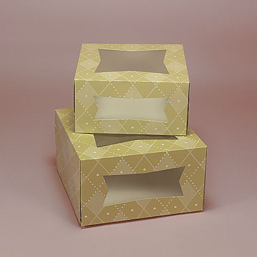 On the Papermart website you can order these bakery boxes -- perfect to send friends and family home with cake, pie, or other desserts.