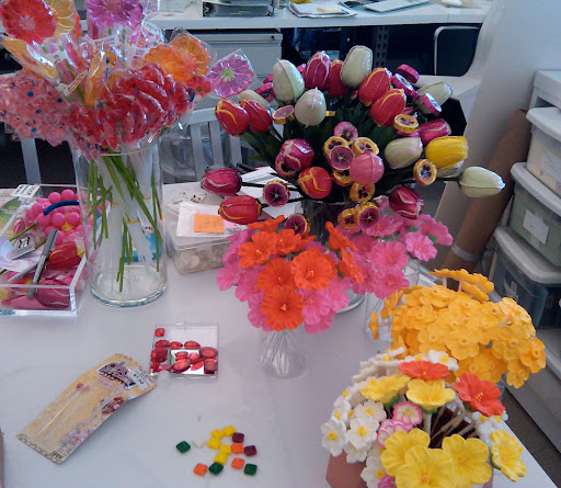 Our beautiful bouquets were made from candy flowers from Fancy Flours.