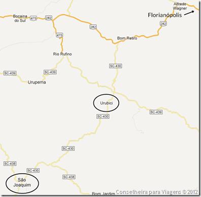 mapa br 282 - urubici - sao joaquim