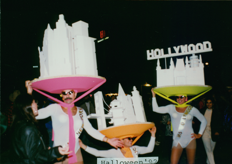 City-skyline hats at the Halloween party in West Hollywood. October 31, 1992.