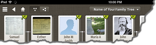 The top left of the Ancestry app