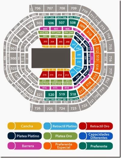 Mapa de zonas disponibles Arena CIudad de Mexico NBA mejores lugares en cancha